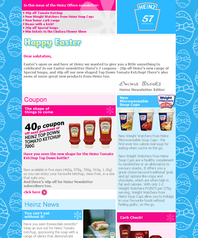Heinz Offers - HTML coupon email