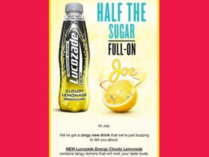 Lucozade Energy - personalised email