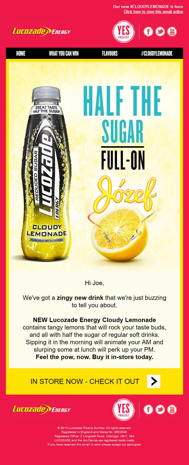 Lucozade - Personalised email