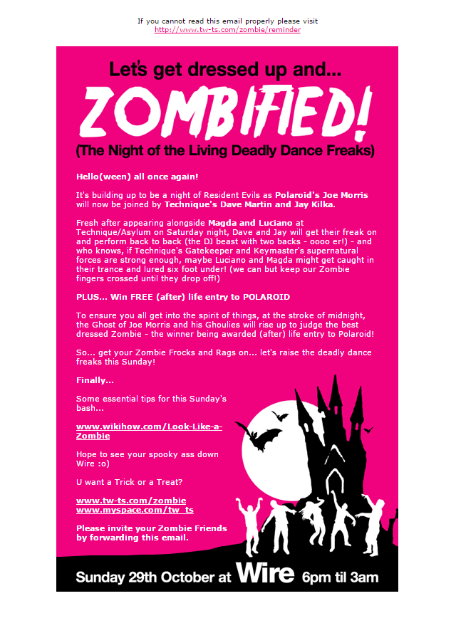 Zombified - HTML email