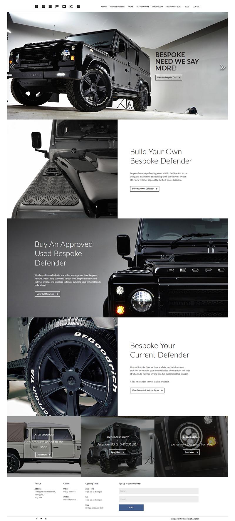 Bespoke Cars - Wordpress site